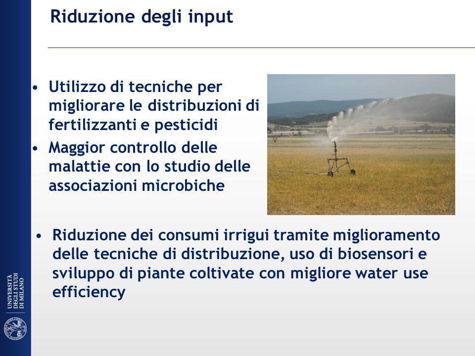 Riduzione degli input Utilizzo di tecniche per migliorare le distribuzioni di fertilizzanti e pesticidi.