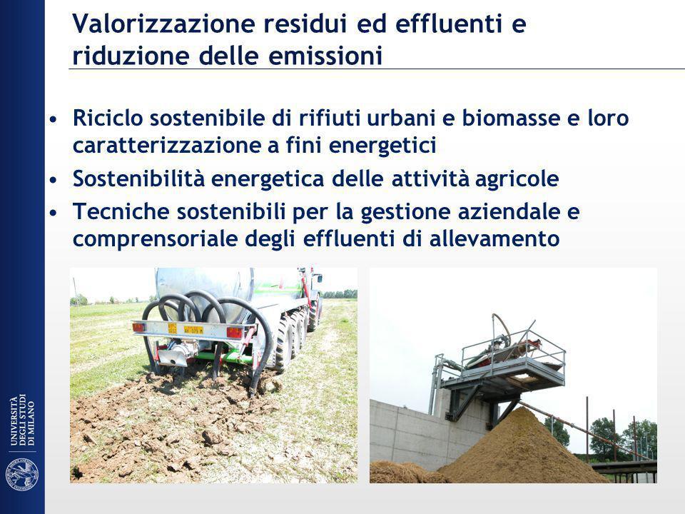 Valorizzazione residui ed effluenti e riduzione delle emissioni