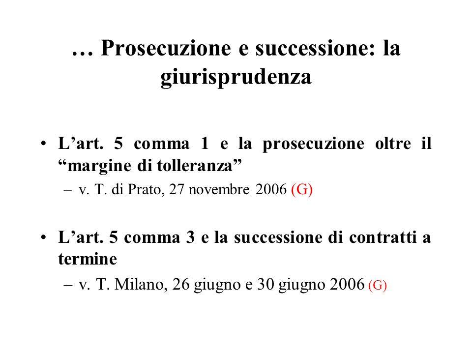 … Prosecuzione e successione: la giurisprudenza