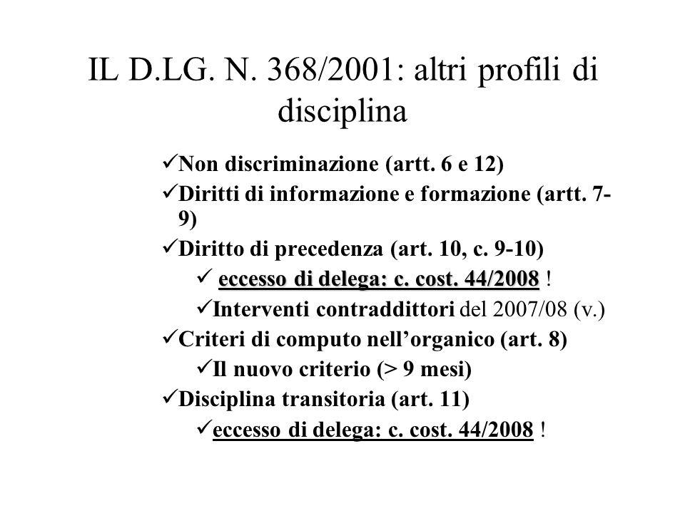 IL D.LG. N. 368/2001: altri profili di disciplina