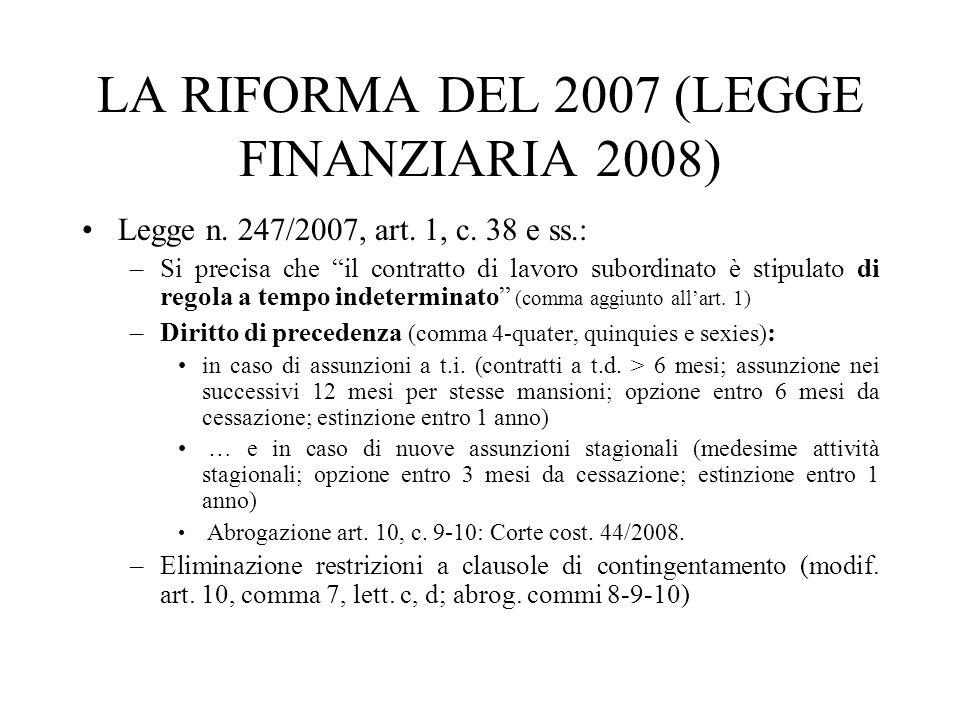 LA RIFORMA DEL 2007 (LEGGE FINANZIARIA 2008)