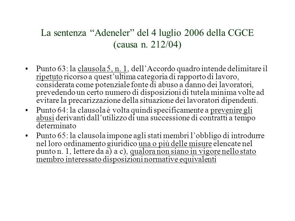 La sentenza Adeneler del 4 luglio 2006 della CGCE (causa n. 212/04)