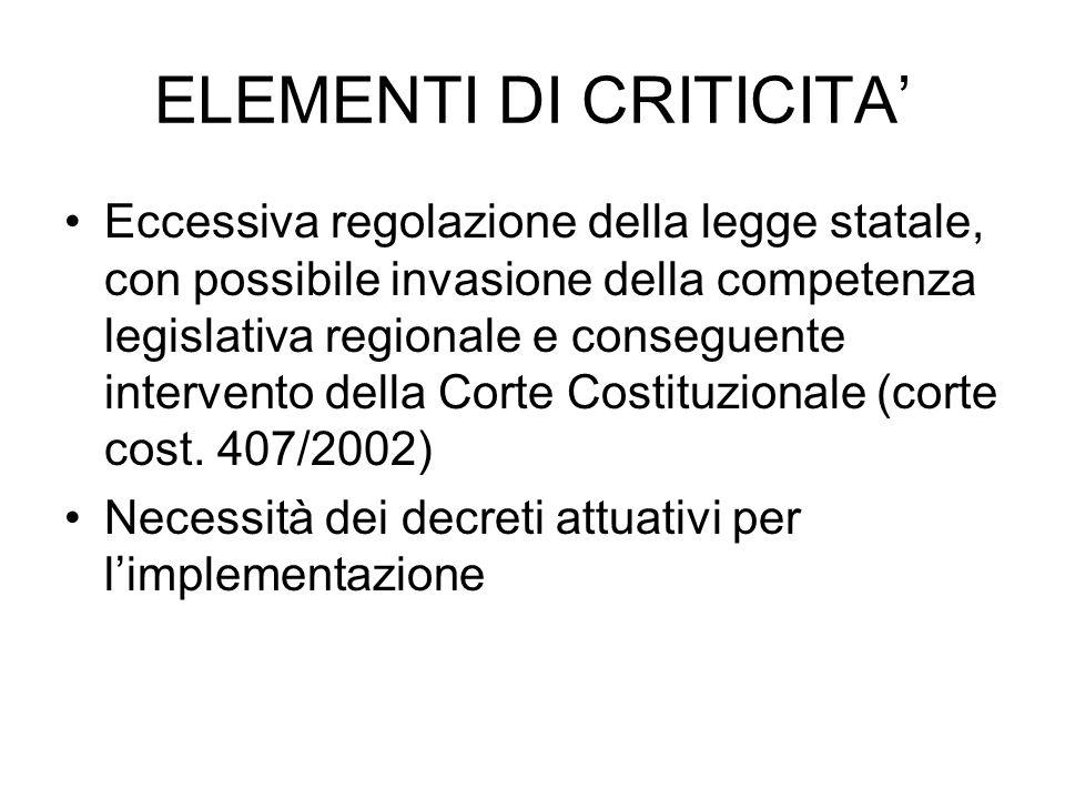 ELEMENTI DI CRITICITA'