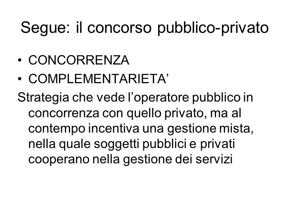 Segue: il concorso pubblico-privato