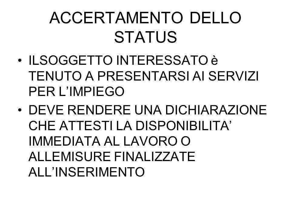 ACCERTAMENTO DELLO STATUS