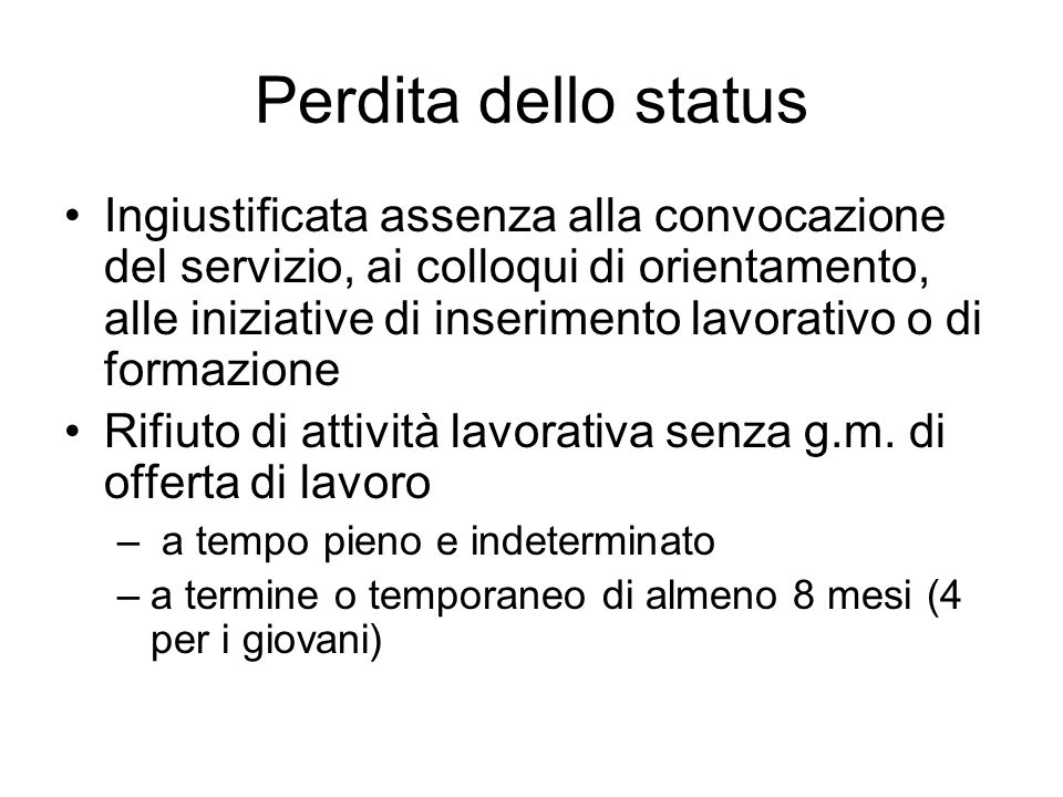 Perdita dello status