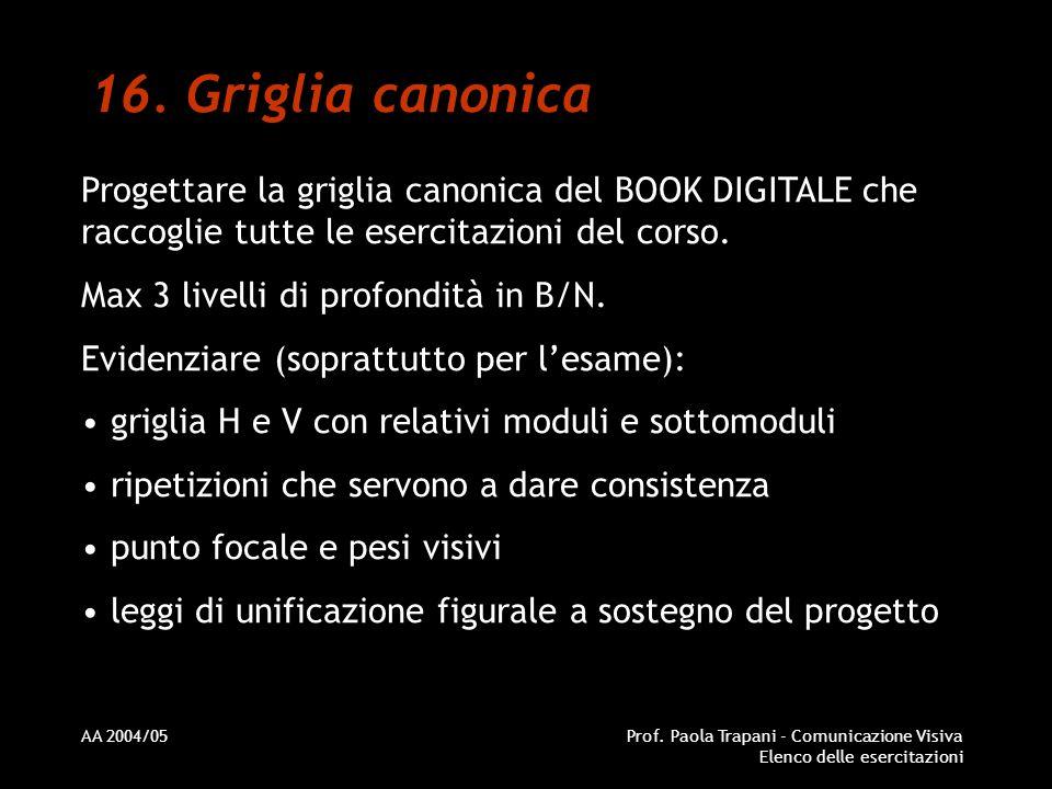 Griglia canonica Progettare la griglia canonica del BOOK DIGITALE che raccoglie tutte le esercitazioni del corso.