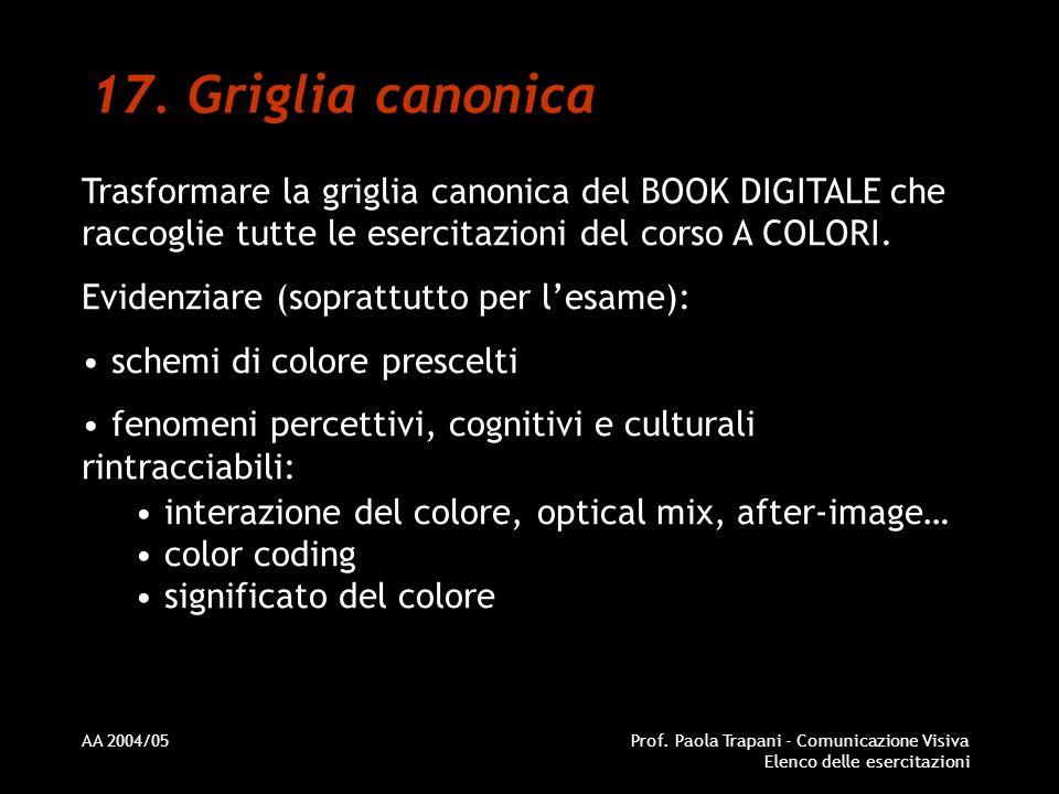 Griglia canonica Trasformare la griglia canonica del BOOK DIGITALE che raccoglie tutte le esercitazioni del corso A COLORI.