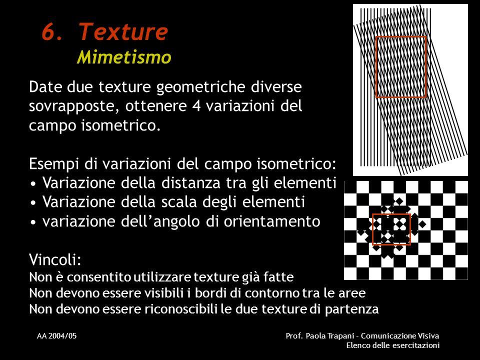 Texture Mimetismo Date due texture geometriche diverse