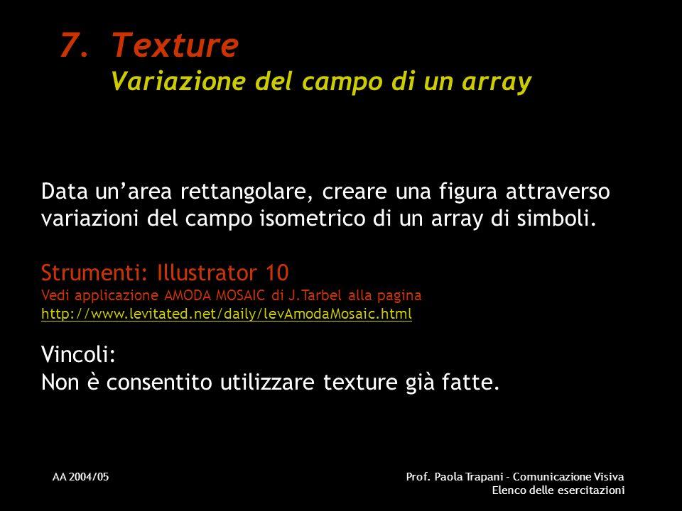 Texture Variazione del campo di un array