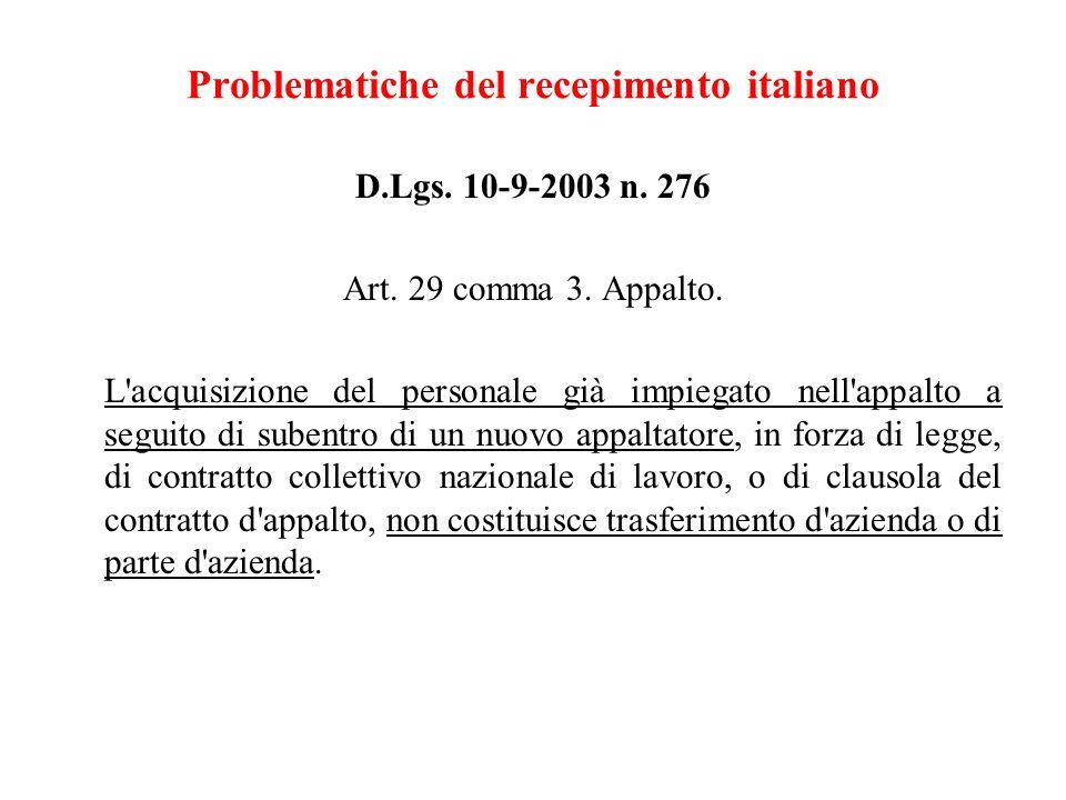 Problematiche del recepimento italiano