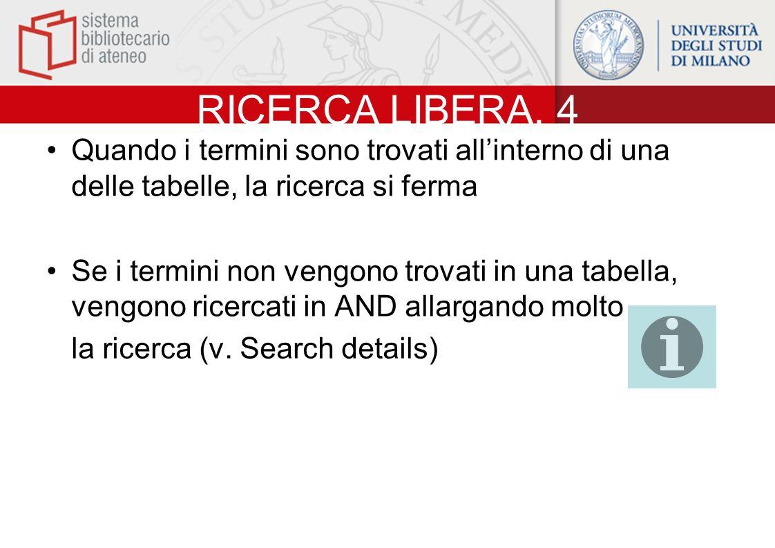 RICERCA LIBERA. 4 Quando i termini sono trovati all'interno di una delle tabelle, la ricerca si ferma.