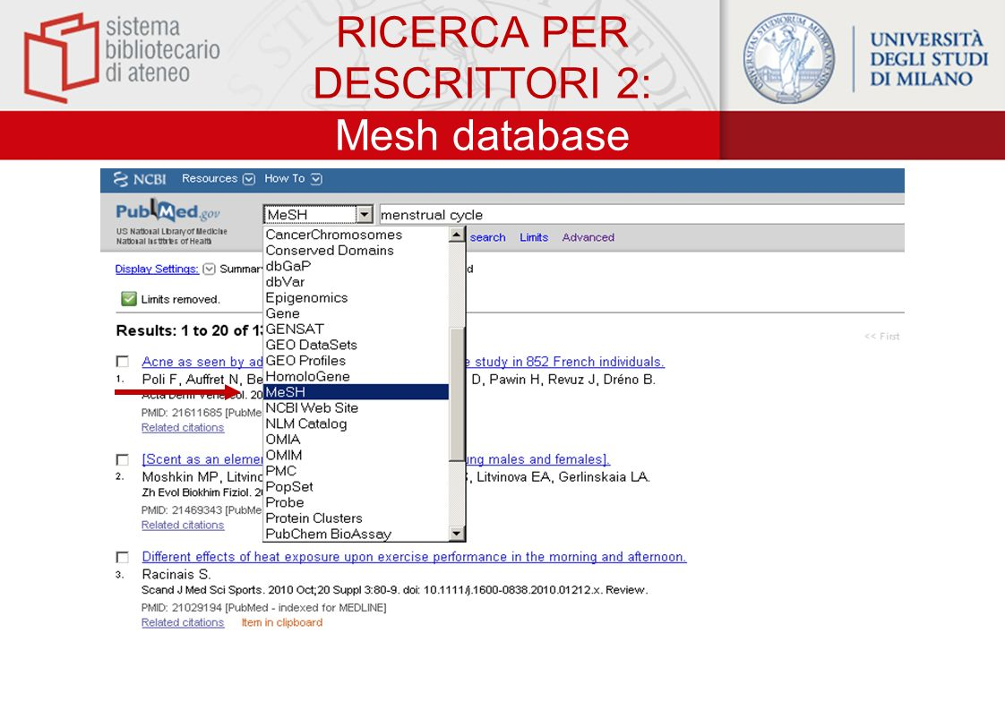 RICERCA PER DESCRITTORI 2: Mesh database