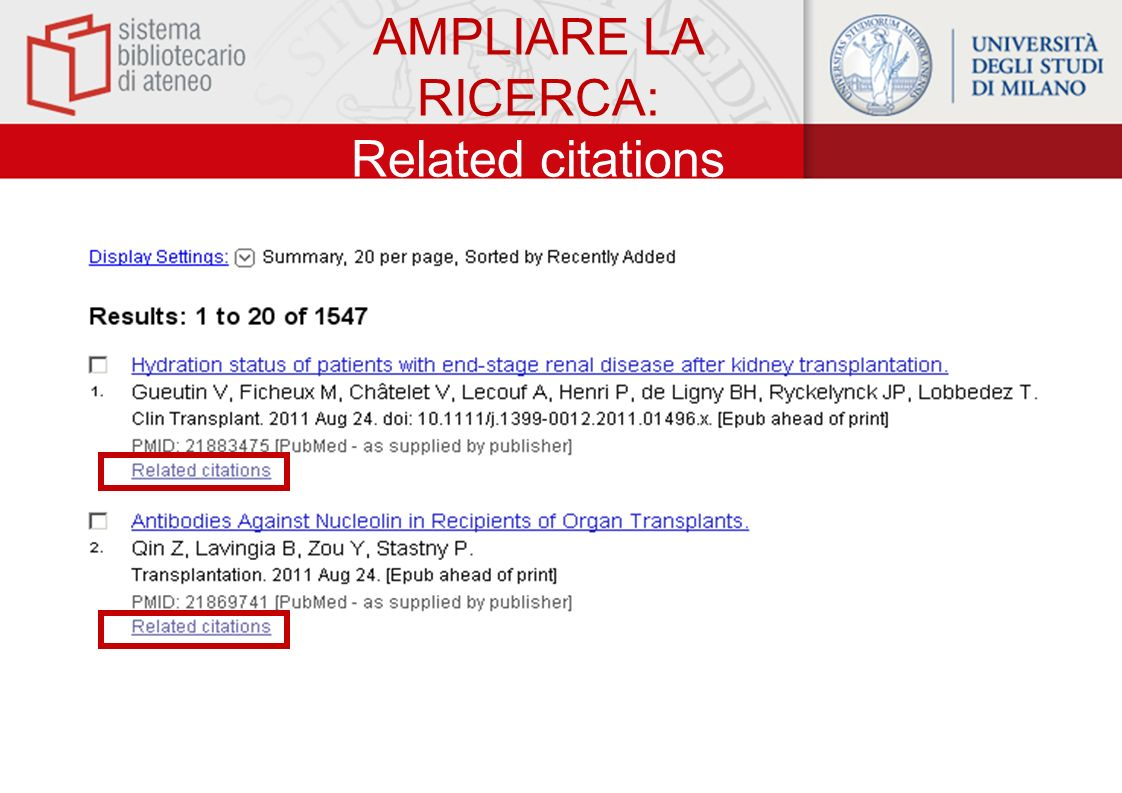 AMPLIARE LA RICERCA: Related citations