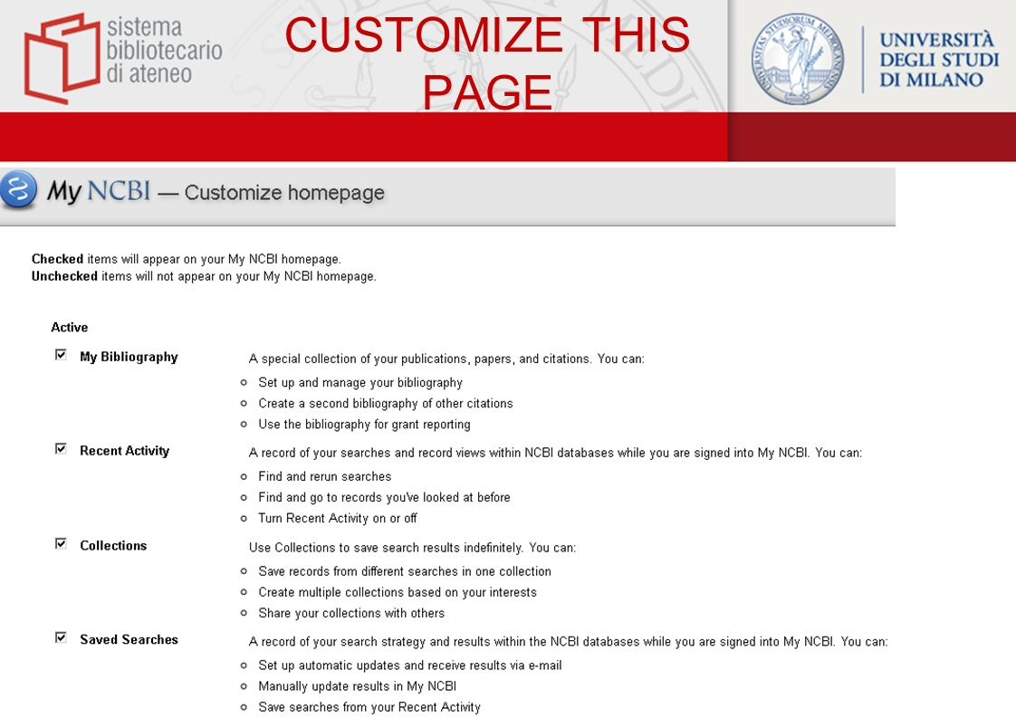 CUSTOMIZE THIS PAGE