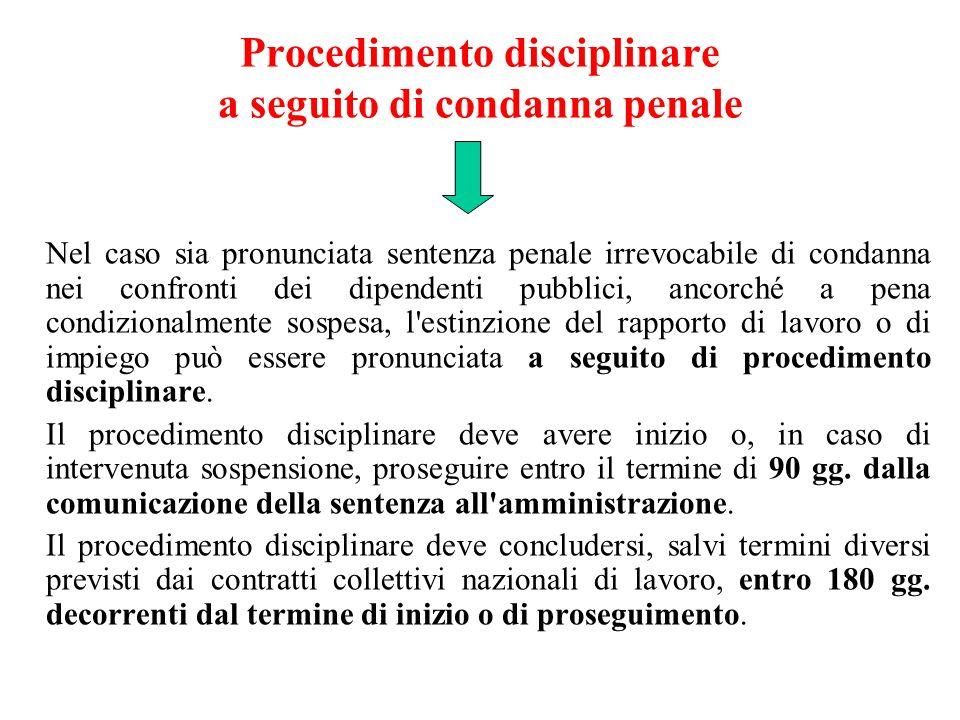 Procedimento disciplinare a seguito di condanna penale