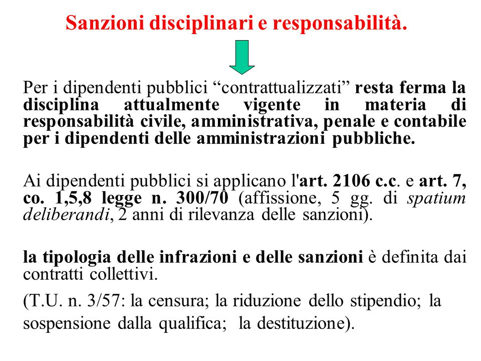 Sanzioni disciplinari e responsabilità.