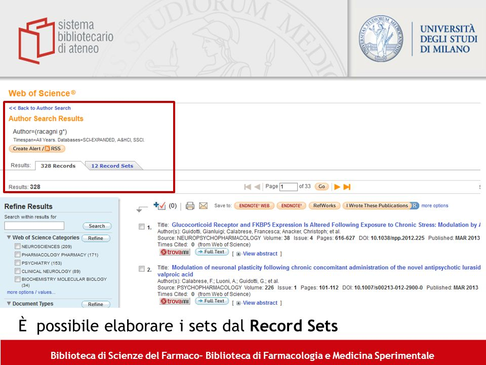 È possibile elaborare i sets dal Record Sets