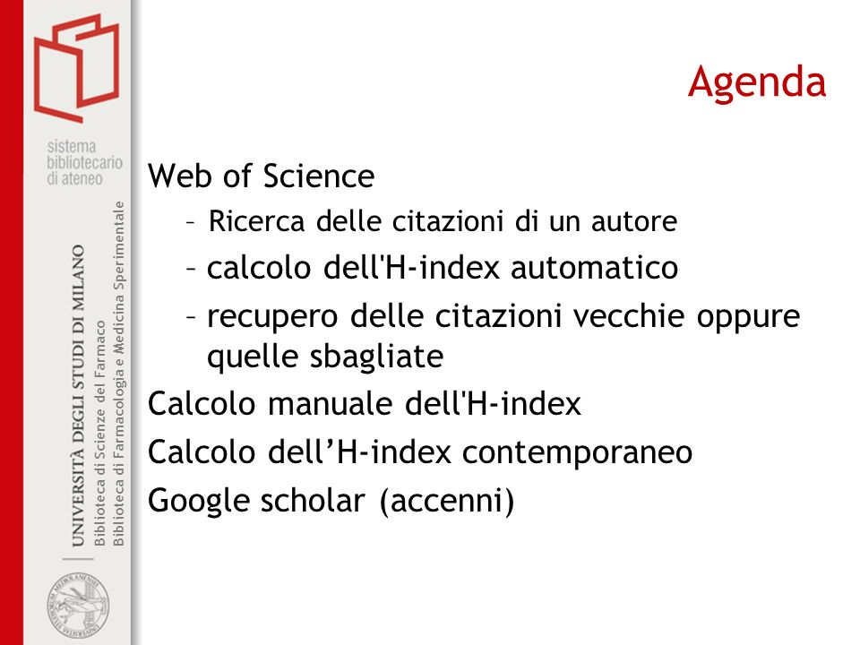Agenda Web of Science calcolo dell H-index automatico