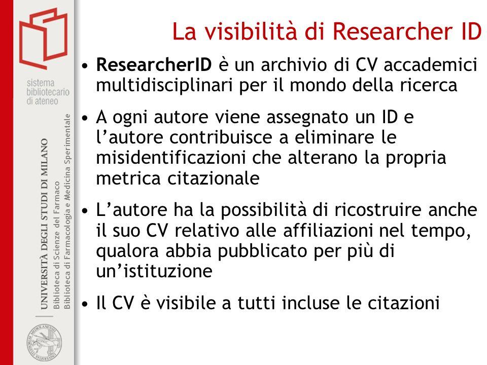 La visibilità di Researcher ID