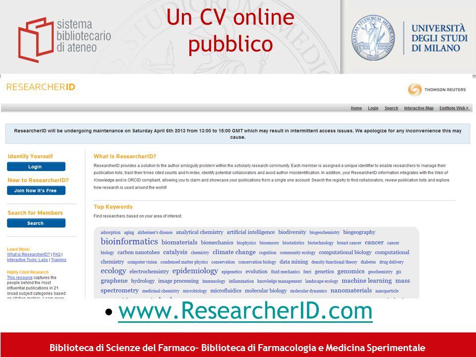 Un CV online pubblico www.ResearcherID.com