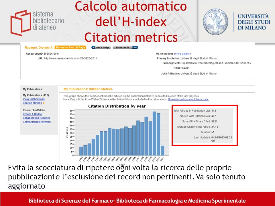 Calcolo automatico dell'H-index Citation metrics