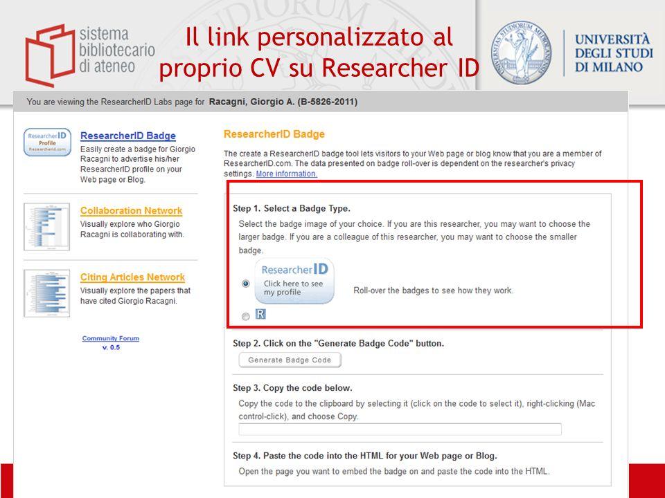 Il link personalizzato al proprio CV su Researcher ID