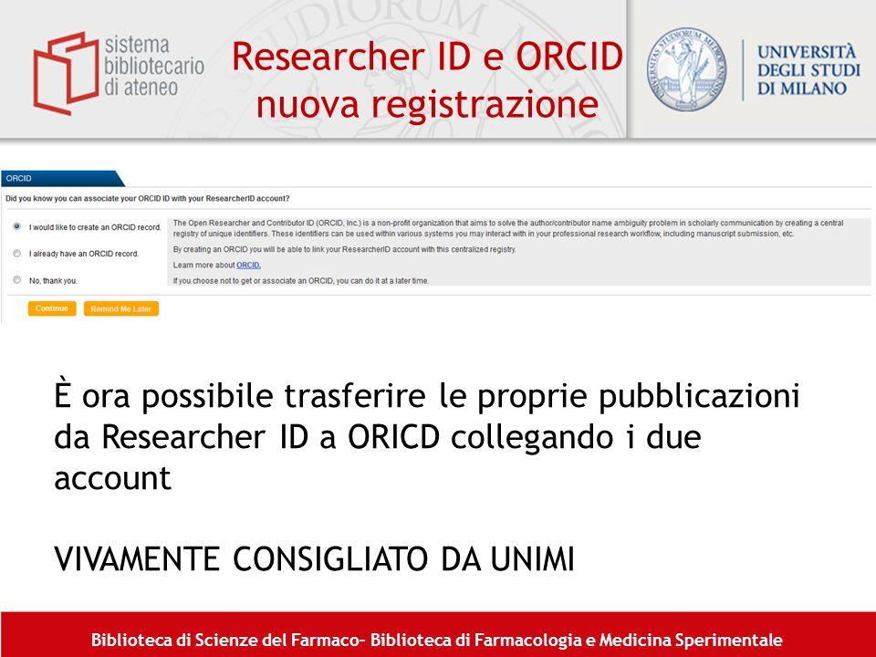 Researcher ID e ORCID nuova registrazione