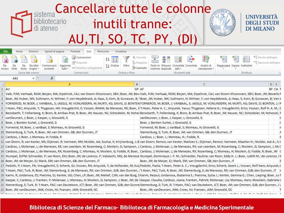 Cancellare tutte le colonne inutili tranne: AU,TI, SO, TC, PY, (DI)