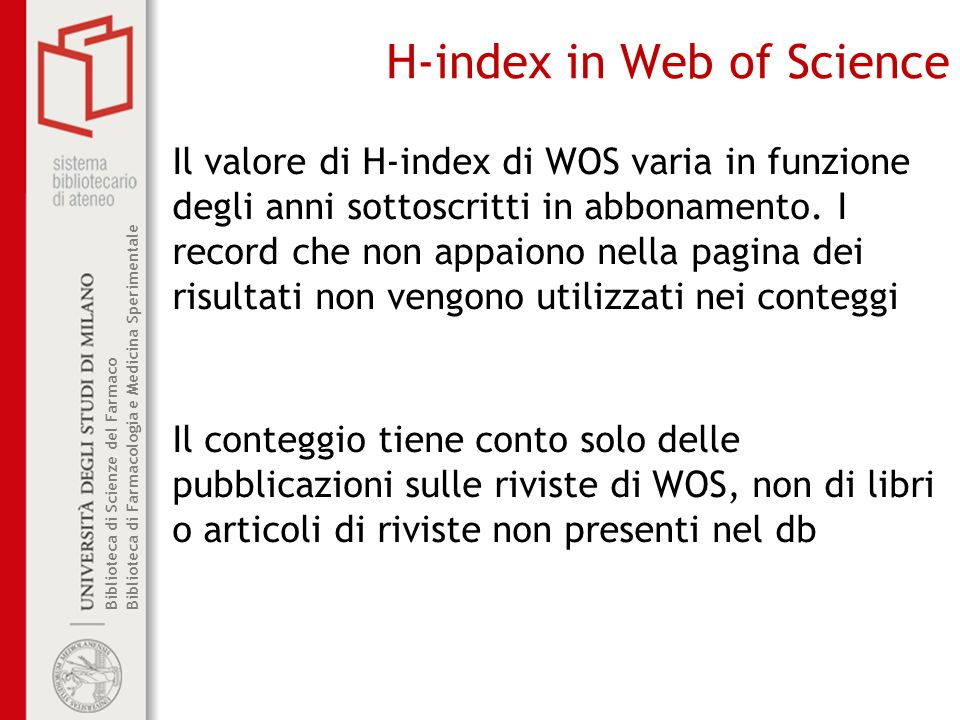 H-index in Web of Science