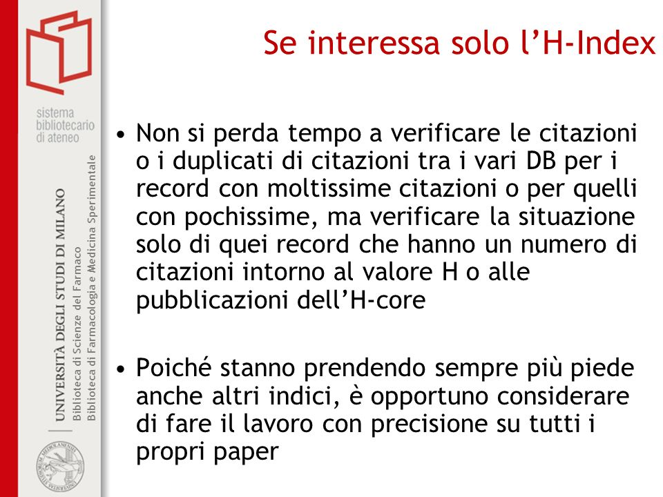 Se interessa solo l'H-Index