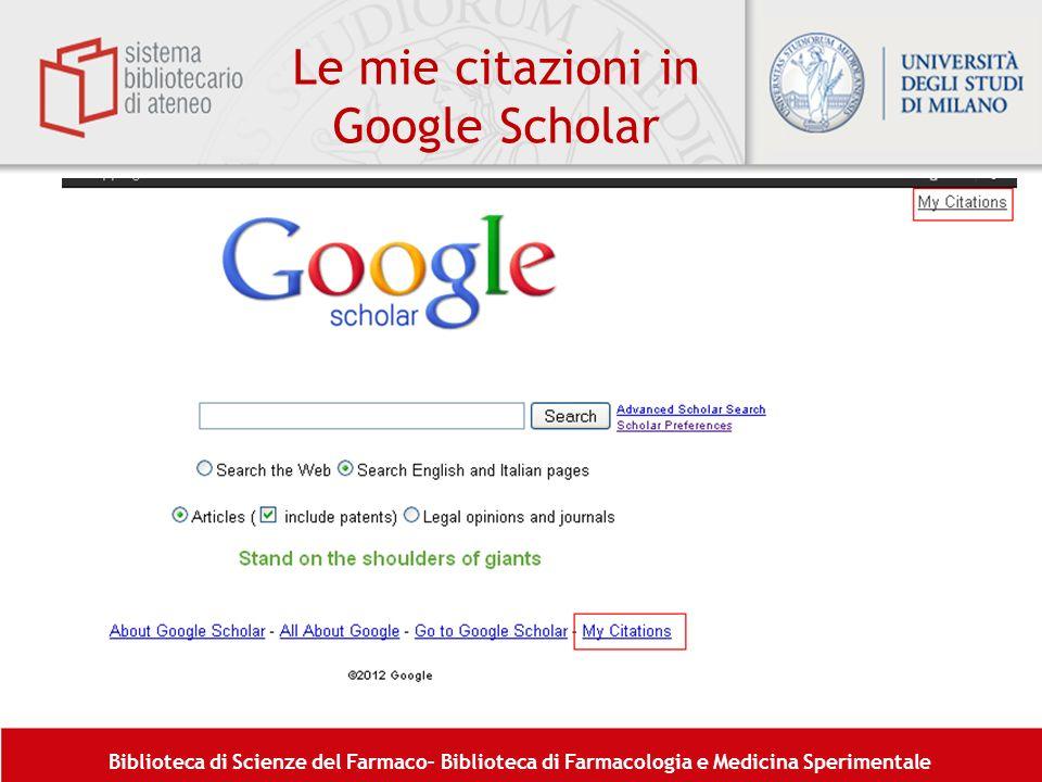 Le mie citazioni in Google Scholar
