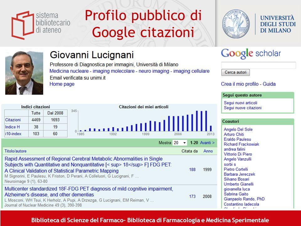 Profilo pubblico di Google citazioni