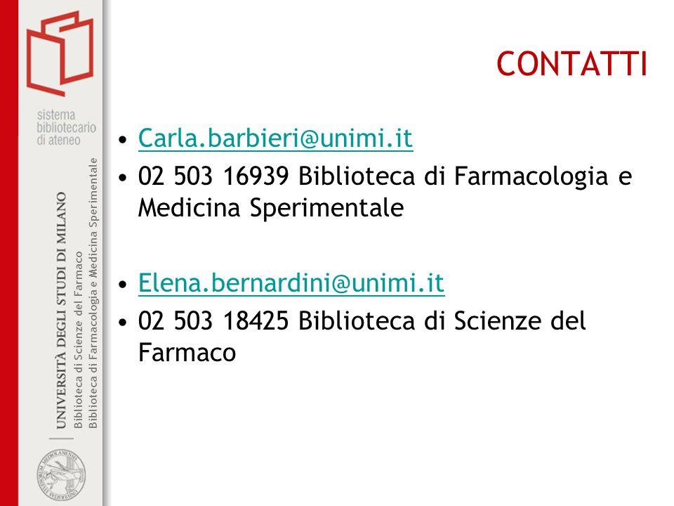 CONTATTI Carla.barbieri@unimi.it