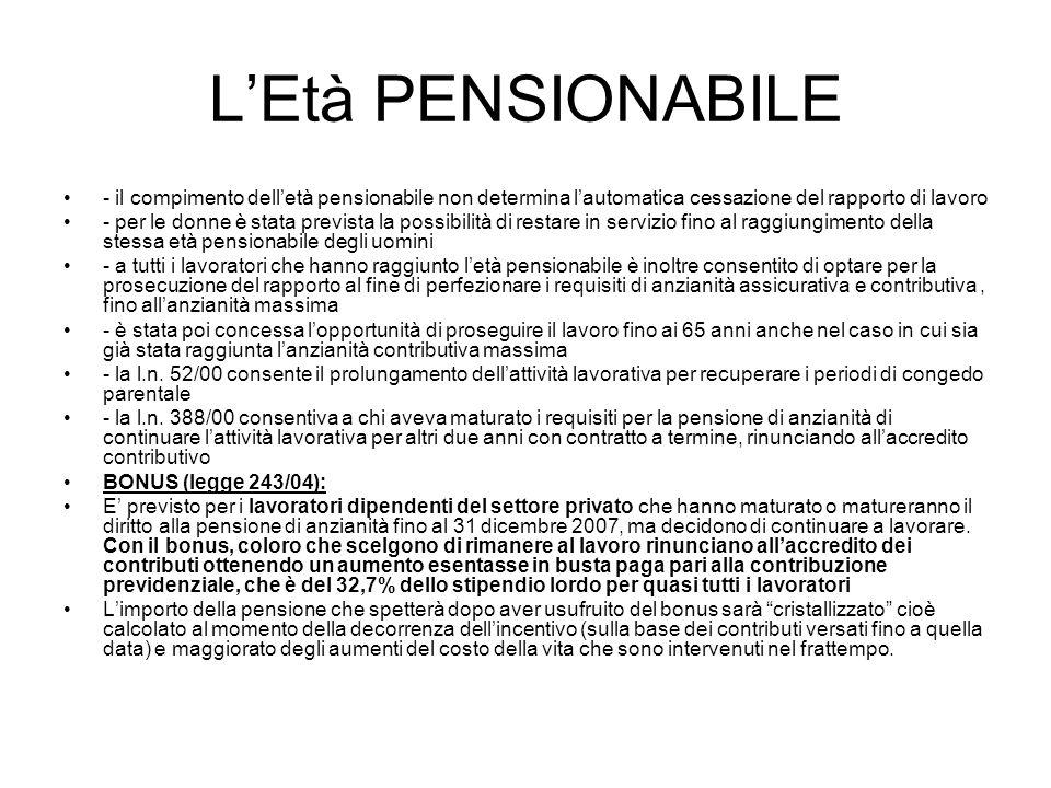 L'Età PENSIONABILE - il compimento dell'età pensionabile non determina l'automatica cessazione del rapporto di lavoro.