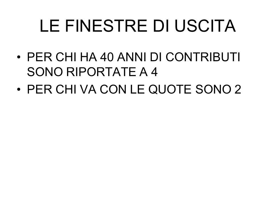 LE FINESTRE DI USCITA PER CHI HA 40 ANNI DI CONTRIBUTI SONO RIPORTATE A 4.