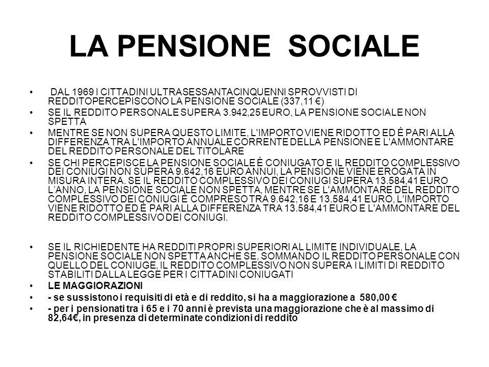 LA PENSIONE SOCIALE DAL 1969 I CITTADINI ULTRASESSANTACINQUENNI SPROVVISTI DI REDDITOPERCEPISCONO LA PENSIONE SOCIALE (337,11 €)