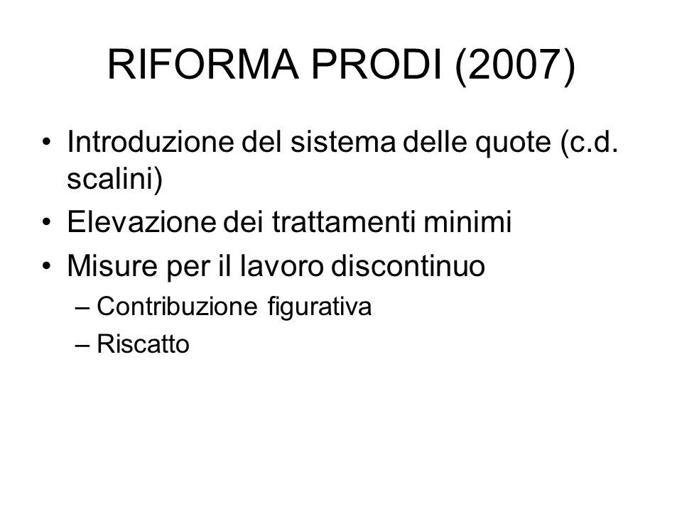 RIFORMA PRODI (2007) Introduzione del sistema delle quote (c.d. scalini) Elevazione dei trattamenti minimi.