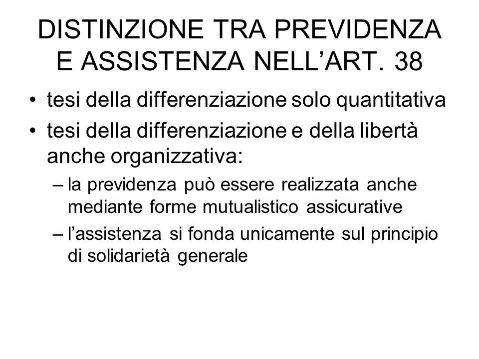 DISTINZIONE TRA PREVIDENZA E ASSISTENZA NELL'ART. 38