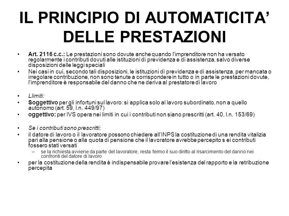 IL PRINCIPIO DI AUTOMATICITA' DELLE PRESTAZIONI