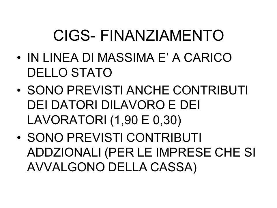 CIGS- FINANZIAMENTO IN LINEA DI MASSIMA E' A CARICO DELLO STATO