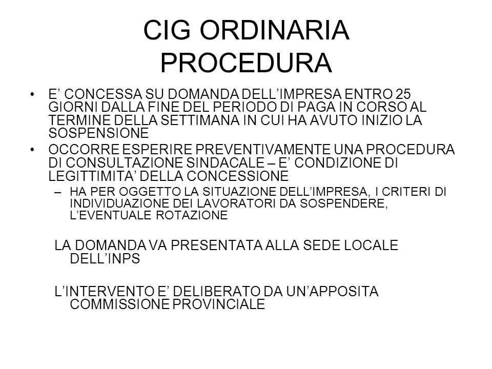 CIG ORDINARIA PROCEDURA
