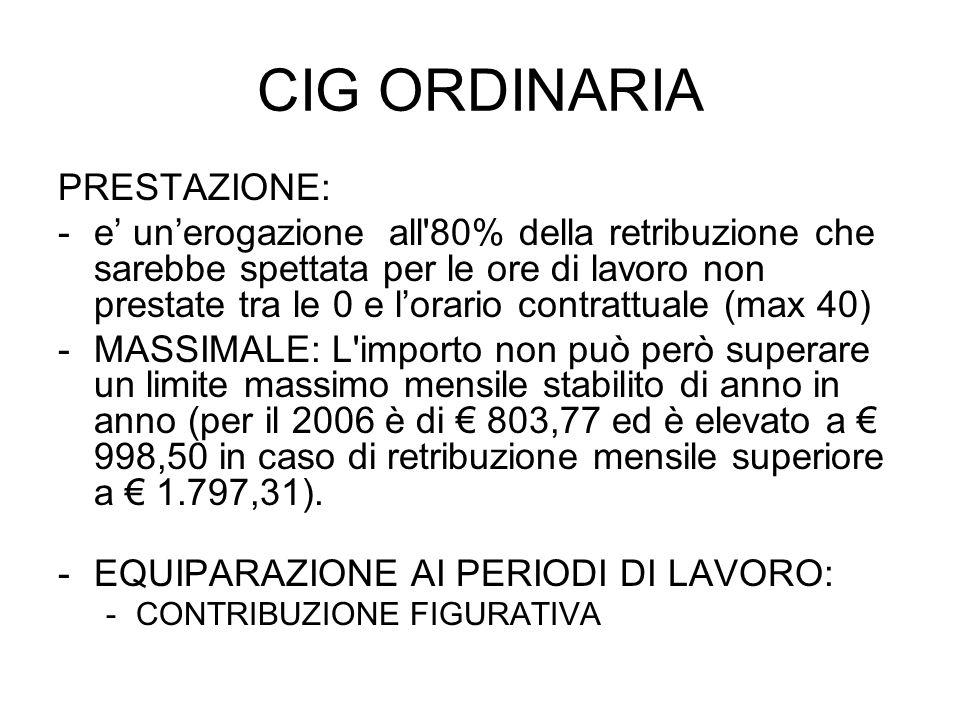 CIG ORDINARIA PRESTAZIONE: