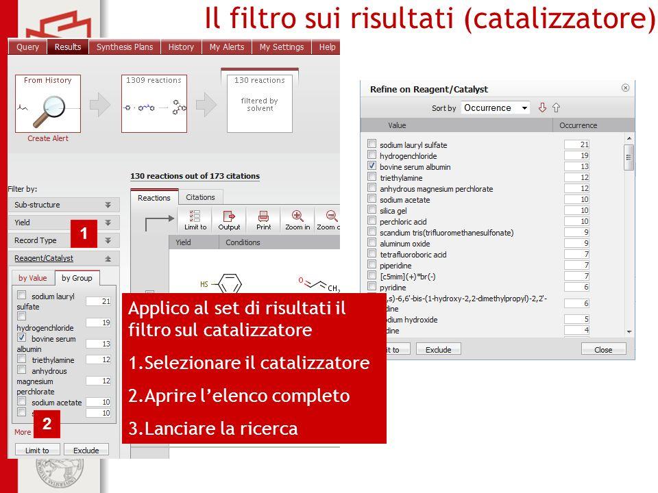 Il filtro sui risultati (catalizzatore)