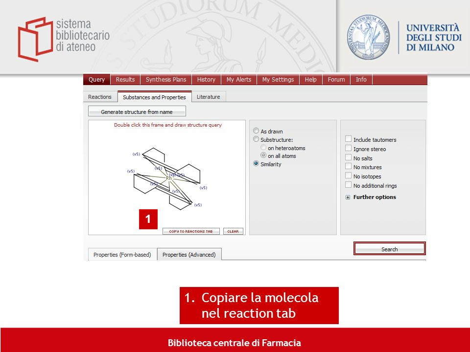 Copiare la molecola nel reaction tab