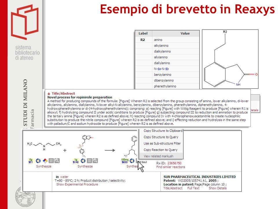 Esempio di brevetto in Reaxys
