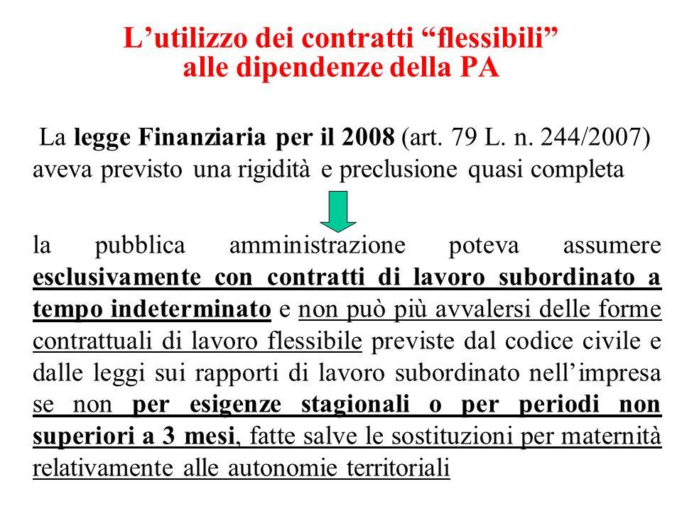 L'utilizzo dei contratti flessibili alle dipendenze della PA