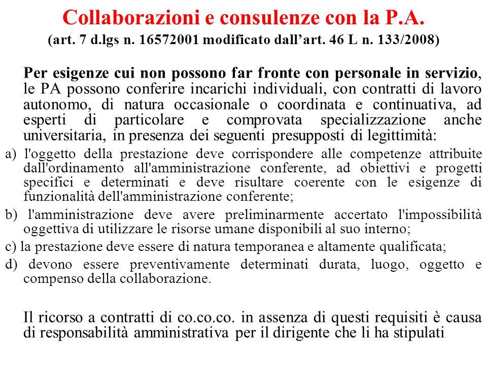 Collaborazioni e consulenze con la P. A. (art. 7 d. lgs n