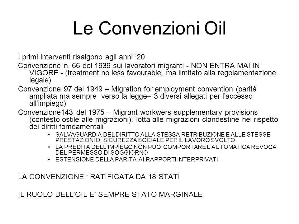 Le Convenzioni Oil I primi interventi risalgono agli anni '20