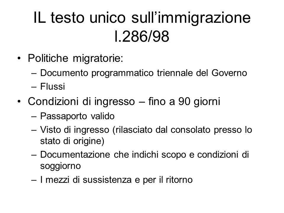 IL testo unico sull'immigrazione l.286/98